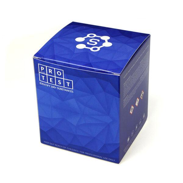 Narkotest Simon w zestawie zawiera odczynnik, szpatułkę, instrukcję i wzornik reakcji